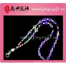 Moda artesanal mulheres elegante cristal colar chaveiro