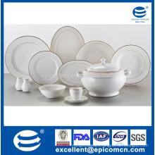 super white porcelain 42pcs dinner set for 6 person use golden tableware porcelain