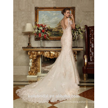 ZM16021 Sexy Backless Mermaid Wedding Dresses With A Long Train And Lace Sleeve Champagne Wedding Dress
