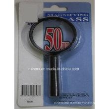 Lupa barata de 50mm com a lente de aumento plástica do punho