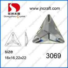 Forme de triangle strass de verre dos plat (DZ-3069)