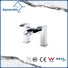 Waterfall Double Holes Dual Handle Chromed Brass Bathtub Faucet (AF6004-2B)