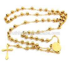 Hommes Acier Inoxydable 316l Lourds 8mm Perles En Or Vierge Marie Chapelet Collier Jésus Crucifix Croix