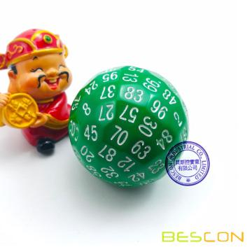 Bescon Polyhedral Dice 100 Cides Dice, D100 mort, 100 Cided Cube, D100 Game Dice, 100-Cided Cube of Green Color