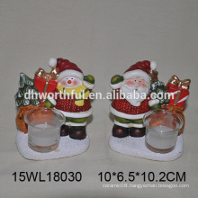 Ceramic tealight candle holder in santa claus / snowman for wholesale