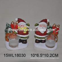 Ceramic tealight vela titular em santa claus / boneco de neve para atacado