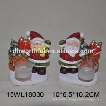 Керамический держатель свечи для свечей в Санта-Клаусе / снеговик для оптовой продажи