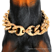 Custom Wholesale Personality 30mm 18K Gold Chain Dog Collar Carving Cool Skulls Pattern Pet Collars For Dog Training Collar