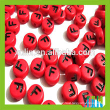 4*7mm acrylic flat round red alphabet beads