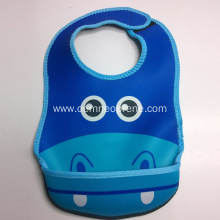 Cute animal waterproof neoprene baby bib with pocket