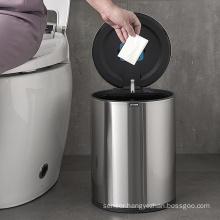 9L restaurant trash garbage office round waterproof stainless steel sensor trash bin with trash bag dispenser