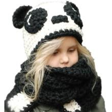 panda cotton  hat crochet bib warm two-piece cap Europe and America autumn and winter men and women baby hat