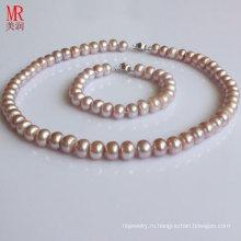 Комплекты ожерелья перлы 9-10mm AAA естественные пресноводные