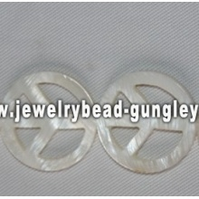 peace symbol shape freshwater shell beads
