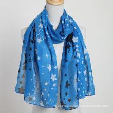 Bufanda a estrenar del estilo de la bufanda de la estrella del nuevo estilo Bufanda azul de la manera del color de la bufanda, bufanda del poliester