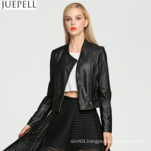 Europe and The New Women′s Ladies Short Paragraph PU Leather Motorcycle Jacket Leather Jacket Street Style Women Jacket