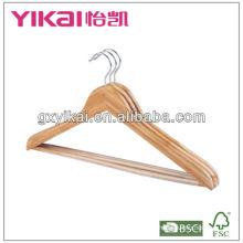 Acabamento natural cabide de bambu com barra redonda e tubo de PVC