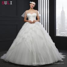 SL043 Cheap Sheer Long With Ruffles Short Sleeve Wedding Dress 2016