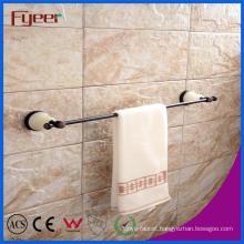 Fyeer Ceramic Base Black Bathroom Accessory Brass Towel Bar