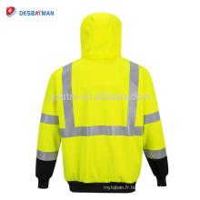Sweat-shirt à capuche zippé à deux tons de haute visibilité, veste à capuche réfléchissante de sécurité haute visibilité