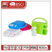 Plastic colorful korean lunch box with water bottle