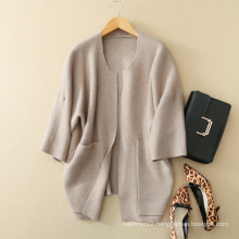 Ladies batwing sleeves long coat design 100%cashmere knitted thick open stitch cardigan for winter