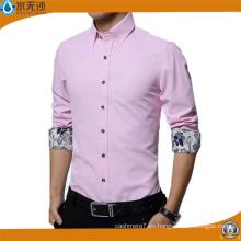 Camisa formal Oxford de algodón de vestir de camisa de hombre de fábrica