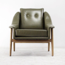 Living Room Wood Chair with Leather Sofa Chairs