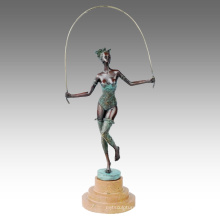 Dancer Figure Statue Lady Skip Bronze Sculpture TPE-597