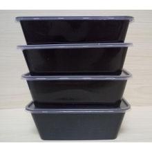 2016 nouvelle boîte à lunch noire rectangulaire de pp