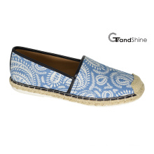Women′s Casual Espadrille Printed Fabric Flat Shoes