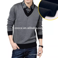 15JW0322 light weight V-neck men contrast color pullover sweaters