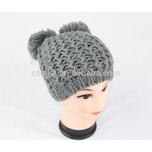 Fashion acrylic knitted pom pom silver lurex beanie hat
