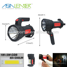 100% 3W LED encendido - 50% 3W LED encendido - 6W COB encendido proyector recargable impermeable