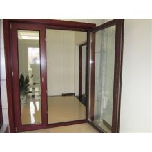 Double Tempered Glass Thermal Break Wood and Aluminium Casement Door