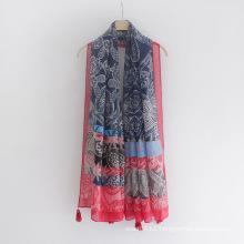 Women Fashion Paisley Printed Viscose Silk Scarf (YKY1147)