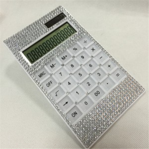 12 Digits Beautiful Decorated Crystal Bling Calculator