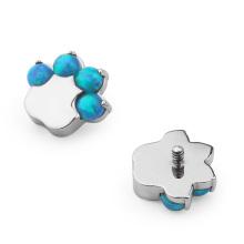 ASTM F136 Titanium Prong Set Opal Claw Charm Dermal Anchor Top Piercing Jewelry