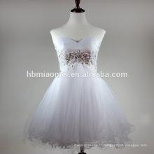 Sexy doux coeur off épaules robe de soirée blanc couleur main perlée fermeture à glissière retour robe de soirée court gros