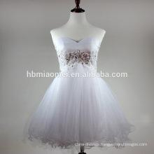 Sexy sweet heart off shoulder evening dress white color hand beaded zipper back evening dress short wholesale