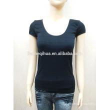 Inherente alta qualidade sem costura T-shirt moda design baixo colarinho