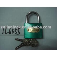 Arc type green color iron padlock