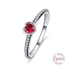 Anneau Vintage Antique Silver Inlay Heart Love Ring (SRI0024-B)