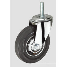 3inch Black Rubber Thread Industrie Caster ohne Bremse