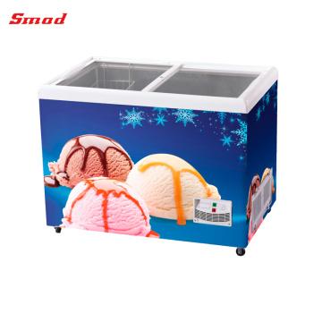 Freezers comerciais do gelado do freezer da mostra da porta do vidro liso