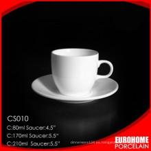 venta directa de fábrica fino platillo y taza de cerámica blanco