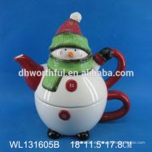 Tetera de cerámica de alta calidad con diseño de muñeco de nieve de Navidad
