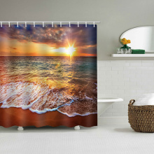 Sea Wave Waterdicht Douchegordijn Strand Zonsondergang Badkamer Decor Douchegordijn met haken