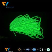 Brilho por atacado na faixa de tecido verde fotoluminescente escuro tubulação para aquecimento em vestuário