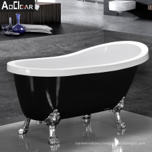 2021 Aoclear black acrylic 57 inch clawfoot bath tub freestanding bathtub